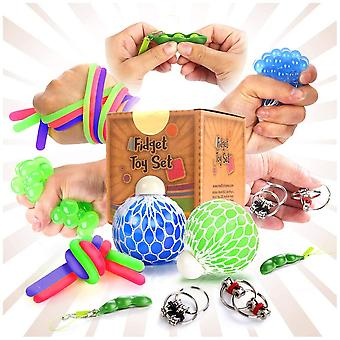 Fidget sensory toys for for autism, adhd. 2 stress relief balls, 2 soybean squeeze, 2 flippy chain a