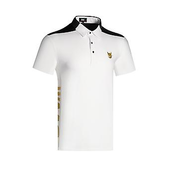 Spring Men Golf Shirt, Short Sleeve Quick Dry Turndown Collar Clothing