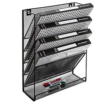 Wall-mounted Black Metal 6-slot Magazine Rack/document  Box