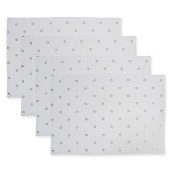 Dii Reversible Polka Dot Placemat(Set Of 4) Metallic Silver/White