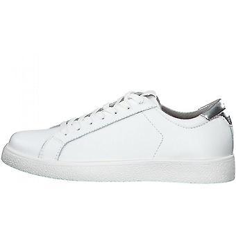 Białe srebrne płaskie buty