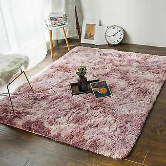 Bubble Soft Silk Carpets For Living Room Home Tie-dye Gradient Faux Fur Fluffy