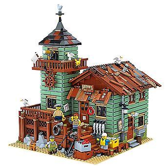 City Creator Street View Moc Modell Byggeklosser Kompatibel Gammel Fiskebutikk