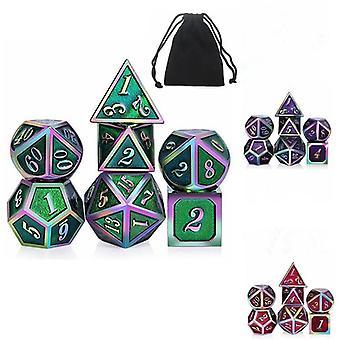 7Pcs/Set Rainbow Edge Metal Dice Set med Bag Board Rollespil Dragons Table Game Bar Party Game D