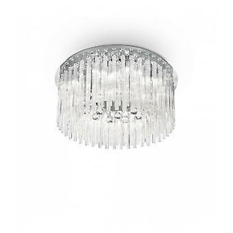 Elegante Lámpara De Techo Cromada 12 Bombillas