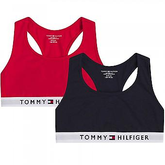 Tommy Hilfiger Girls 2 Pack Original Cotton Bralette, Primary Red/Desert Sky, Age 8-10