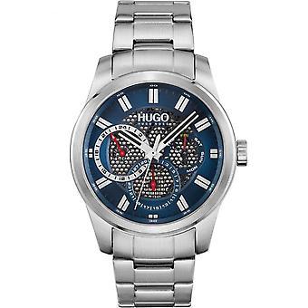 HUGO 1530191 Esqueleto Azul e Prata Relógio Masculino de Aço Inoxidável