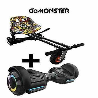 "NEW - 6.5"" G PRO Black Bluetooth Hoverboard with LED Wheels with FREE Go Monster Hoverkart Bundle - Choose Your Colour (Choose Colour Monsterkart: Hip"