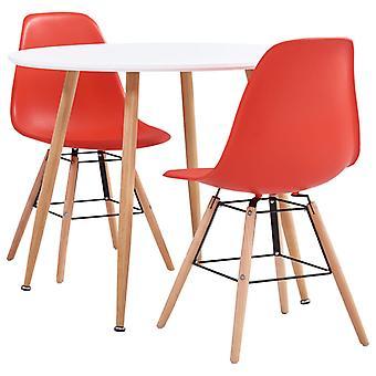 3 Piece Dining Set Plastic Red