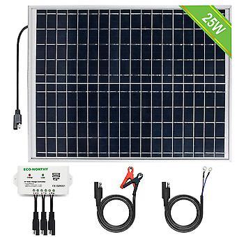 Gerui [Upgraded] 25 Watts 12V Off Grid Solar Panel SAE Connector Kit: Waterproof 25W Solar Panel +