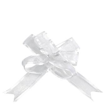5 Mini nœuds organdi blanc 16 mm