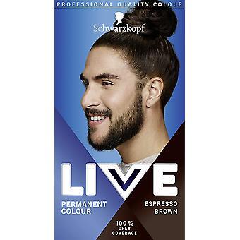 Schwarzkopf Live Pysyvä Hiusten väri miehille Espresso Brown 880 - Pakkaus 3