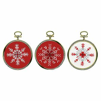 Vervaco Counted Cross Stitch Kit: 3 Miniatures: Ice Star: Set of 3
