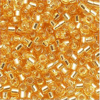 Miyuki Delica Seed Koraliki, 11/0 Rozmiar, 7.2 gramów, Silver Lined Gold DB042