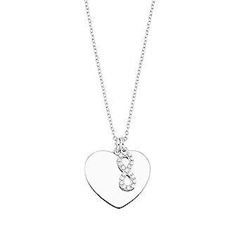 Amor - Kvinnohalsband med hjärtformat hänge och oändlighetssymbol, i glansigt silver 925, med vita zirkoner