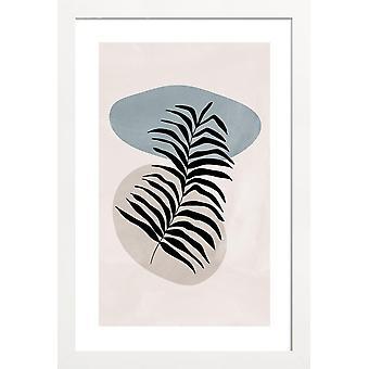 JUNIQE Print - Stone Reed - Blade og planter Plakat i Blå & Fløde Hvid
