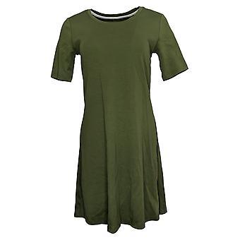 Isaac Mizrahi Live! Petite Dress PM Elbow- Sleeve Green A351508