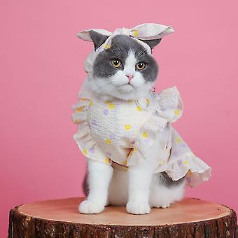 القط ملابس الصيف الخفيفة، رقيقة ولطيف ملابس الحيوانات الأليفة اللباس تنفس
