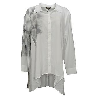 DG2 by Diane Gilman Women's Top Reg Oversized Tie Dye Hi-Low White 742521