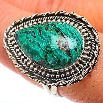 Large Chrysocolla Ring Size 8.75 (925 Sterling Silver)  - Handmade Boho Vintage Jewelry RING66704