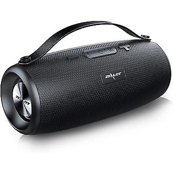 Alto-falante Bluetooth portátil, Estéreo Sem Fio ZEALOT com Powerbank 20 Horas de Autonomia 20W Dual Driver Bluetooth 5.0 Subwoofer Impermeável Poderoso Baixo AUX / TF / USB, Hands-free, Preto