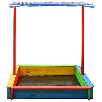 vidaXL zandbak met verstelbaar dak spar hout kleurrijke UV50