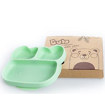 Bear green children's silicone dinner plate, food divider bowl az14845