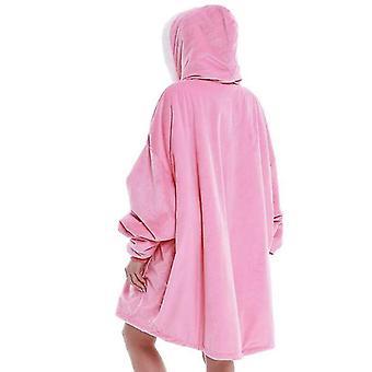 المرأة المتضخم لينة دافئة مريحة يمكن ارتداؤها هوديي مع جيب العملاقة (الوردي)