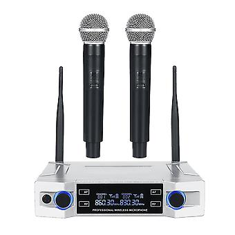 Draadloos microfoonsysteem UHF 2-kanaals handheld mic kraoke spraak