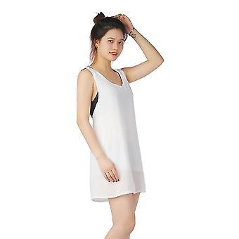 Novo vestido branco feminino Elegent Sexy Sem Manga Beach Sun Dress