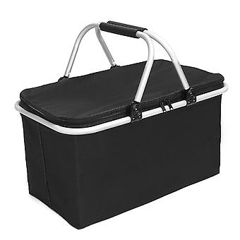 24L Oxford Picnic Basket Cooling Bag Cooler Box Food Lunch Insulation Pouch Outdoor Camping Travel