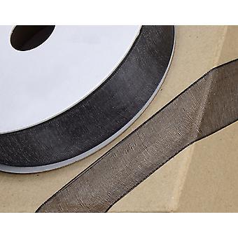 25m Black 23mm Wide Organza Ribbon Cracker Ties