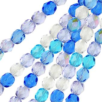 Czech Fire Polished Glass Beads, Faceted Round 6mm, 50 Pieces, Carribean Blue Mix