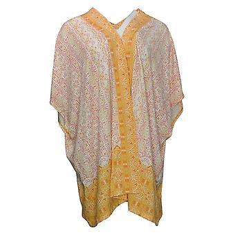 Isaac Mizrahi Live! Maglione donna Stampato Open Kimono Orange A378094