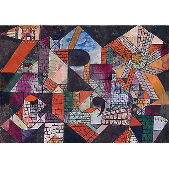 Wallpaper Art Mural Stadt R by Paul Klee