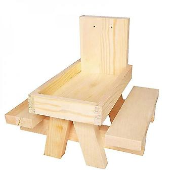 Wooden Squirrel Feeder Natural Wood Feeding Table For Garden Easy To Install
