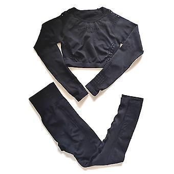 Kvinnor Sport Suit Set- Långärmad gröda topp och leggings