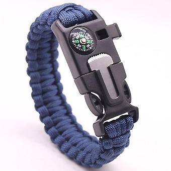 Blue Multifunctional Outdoor Bracelet Umbrella Rope Survival Wristband Compass Rope Cutting Knife Whistle Bracelet Pulseras Camping Outdoor Tool