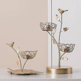 Scandinavische stijl geïnspireerd ijzer vogel en bladeren kandelaars (3 Nesten)