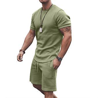 Men T-shirt Top Shorts Set Summer Sports Clothes