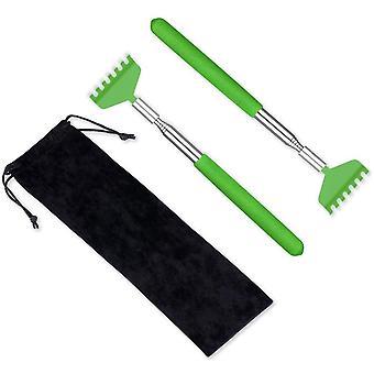 2 pack bærbar uttrekkbar ryggskraper, rustfritt stål, grønn