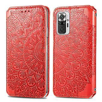 Étui pour Xiaomi Redmi Note 10 Pro Wallet Pattern Etui Handytasche Coque Housse gaufrée - Orange