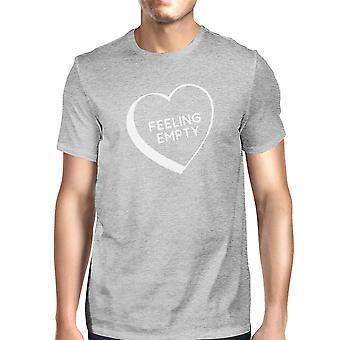 Sentimiento corazón vacío hombres gris diseño gráfico T Camisa cuello redondo