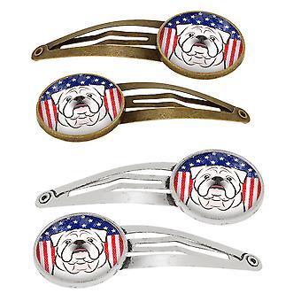 Amerikaanse vlag en witte Engels Bulldog Set van 4 haarspeldjes Hair Clips