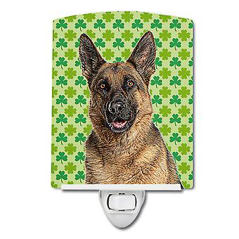 St. Patrick's Day Shamrock German Shepherd Ceramic Night Light
