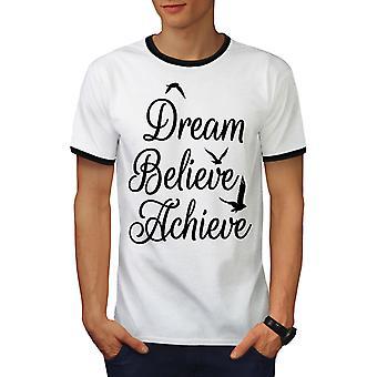 Zu erreichen glauben Männer weiß / BlackRinger-t-Shirt | Wellcoda