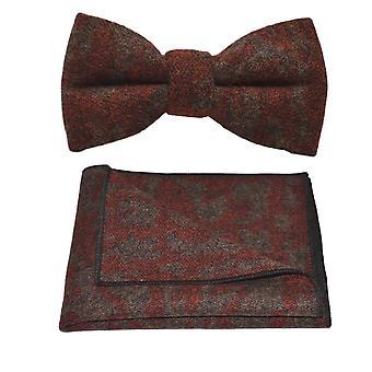 Luxury Arabic Dark Amber Pattern Bow Tie & Pocket Square Set