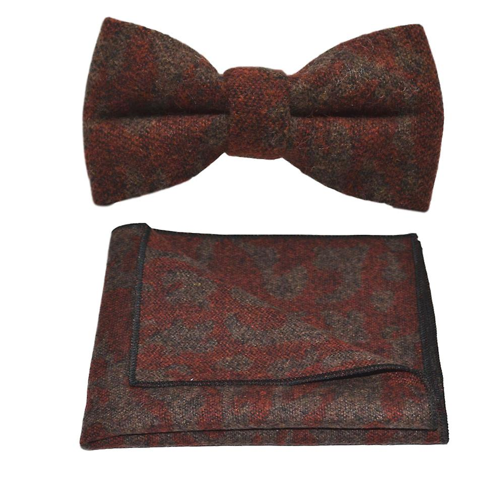 Luxury Arabic Dark Amber Pattern Bow Tie & Pocket Square Set