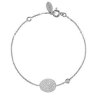 Latelita Sterling Silver Oval Disc Round Delicate Bracelet Rose Gold CZ Circle