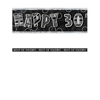 Bannière anniversaire Glitz noir & argent 30e anniversaire prisme